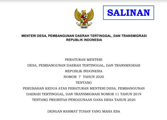 Permendesa PDTT Nomor 7 Tahun 2020 tentang Perubahan Kedua Atas Permendesa 11 Tahun 2019